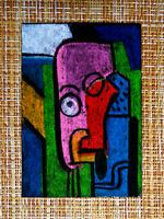 ACEO original pastel painting outsider folk art brut #010355 abstract surreal