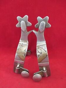 PAIR OF RARE CROCKETT #295 SPURS, SILVER OVERLAYS WITH BRONZE EAGLE