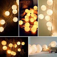 20 LED Cotton Ball Fairy String Lights Christmas Wedding Xmas Tree Party Decor