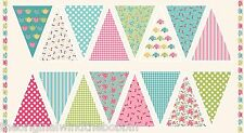 Tea Party Bunting Flags  Panel by Makower 100% Cotton 1649