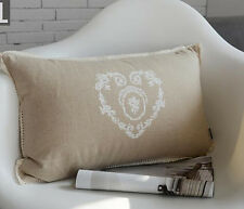 30cm x 50cm TBS French Provincial Floral Heart Linen Cushion Cover