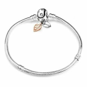 SPARKLING LEAVES PAVE SILVER CLASP SNAKE CHAIN SILVER PLATED BRACELET CHARM BEAD
