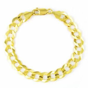 """Mens 10K Yellow Gold Solid 10mm Italy Cuban Curb Chain Link Bracelet 8"""" 8.5"""" 9"""""""