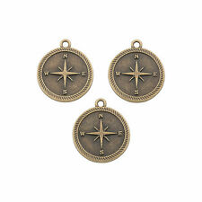 Antique Goldtone Compass Charms - Craft Supplies - 12 Pieces