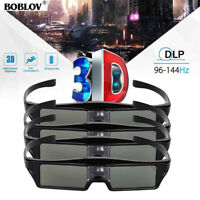 4pcs BOBLOV DLP-Link 3D Glasses 96-144Hz Rechargeable Movie for Optoma Projector