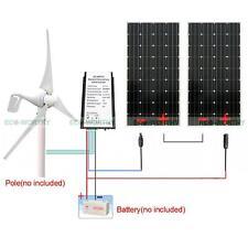 600W Wind Kit 400W Wind Generator & 2pcs 100W Mono Solar Panel Home Power Charge