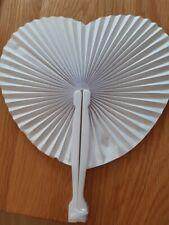 Pocket Paper Fans Folding Handheld Fan Heart Shape white x 12  (1 opened)