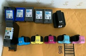 (12) HP Empty Ink Cartridges Black Color HP 21, 22, 02, 51645a Never Refilled