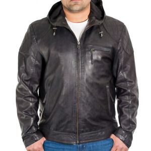 Mens Black Leather Urban Style Street Hoodie Jacket with Diamond Quilting.