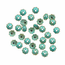 30pcs Vintage Bronze Verdigris Flowers Bead Caps Fit DIY Bracelet End Caps 9mm