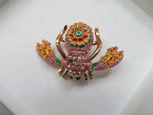 Joan Rivers Pink Enamel & Pink Crystals Cloisonne Bee Pin Brooch Signed NWOT