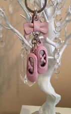 💕Coach Pink Leather Ballet Slippers Keyring