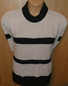 womens m&s collection size large blue & cream  striped sweater  jumper