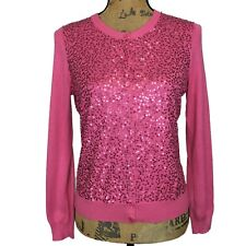 NEW Talbots S Petite Cardigan Sweater Silk Bl Pink Sequin Front Long Sl Party
