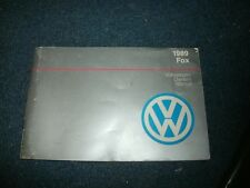 1989 Volkswagen Vw Fox Factory Original Owners Manual Nice Complete Original