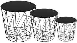 Set Of 3 Side Tables Nesting Coffee Tables Black With Black Glass Top
