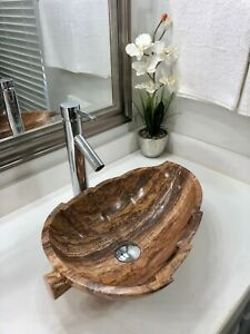 "Travertine Stone Sink /Modern natural stone bathroom vessel sink ""Leaf"""