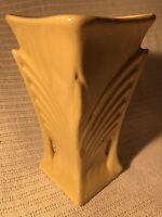 "Vintage 1940s Original McCoy Pottery Yellow Vase Art Deco 9"" American USA Large"