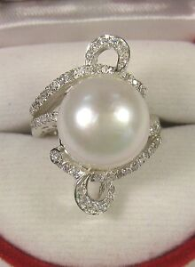 12.5 MM PEARL & WHITE SAPPHIRE RING .46 CTW size 7 WHITE GOLD over 925 SILVER