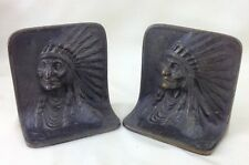 Antique BRONZED Bookends Indian Native American FEATHER Headdress BRONZMet 2kg