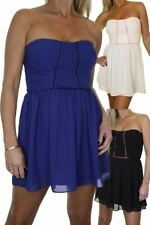 Ladies Strapless Bodice Skater Style Chiffon Dress 6-14