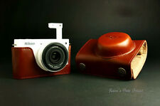 Handmade Vintage Full Real Leather Camera Case for Nikon J1(For 10mm/f2.8 Lens)