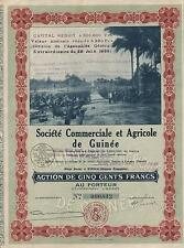 GUINEA AGRICULTURE & TRADE stock certificate 1930 BEAUTY