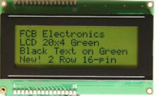 Hi-Quality 20x4 Black Character on Green Backlight, HD44780 + Free Headers  *USA