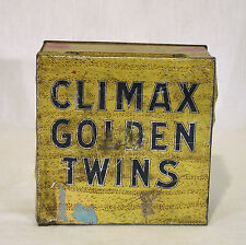 "Antique ""Climax Golden Twins"" Square Tobacco Tin by P. Lorillard Co. 5 Cents"