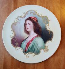 """Antique J.P.L. France Jean Pouyat LIMOGES Portrait Plate Hand Painted 11 3/8"""""""
