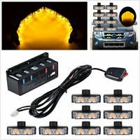 8pcs Car Grille Strobe Light Warning Hazard Emergency Beacon Amber 2-LED Lamps &