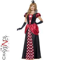 Adult Ladies Royal Queen of Hearts Long Fancy Dress Costume Alice in Wonderland