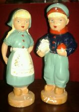 Alexander Backer (Abco) Vintage Pair Of Chalkware Figures Dutch Boy And Girl