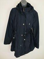 WOMENS PER UNA NAVY BLUE ZIP UP WATERPROOF RAIN COAT HOODED JACKET UK L LARGE