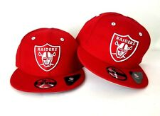 New Era NFL Oakland Raiders Shield Logo 9Fifty Snapback Hat Red On White