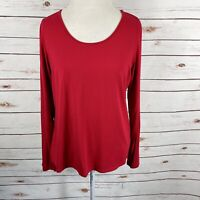 Eileen Fisher Red Jersey Knit Top Long Sleeve Stretch Size L