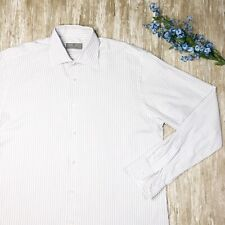 CANALI Mens 16.5 - 42 Lightweight Striped White Dress Shirt - Made in ITALY Gray