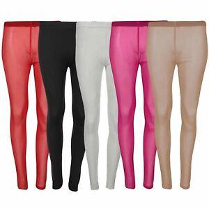 Ladies Mesh See Through Skinny Jeggings Full Ankle Length Bottom Leggings 8-14