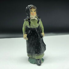 ANTIQUE CAST IRON TOY FIGURE Amish family statue pilgrim church mother green usa