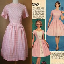 1950s 50s 60s midcentury pink plaid full skirt dress with matching belt