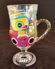 Lolita Boom Box Stemmed Coffee Mug Hand Painted 9 Oz Glass No Box
