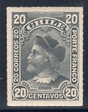 CHILE 1900/1 STAMP # 43 MH WITH SHADOW RULETEADOS CABEZONES COLUMBUS