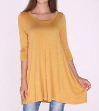 Size L Large New 3/4 Sleeve Mustard Yellow Long Tunic Top Shirt Blouse Dress