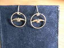24K gold plated 1967 CENTENNIAL CANADIAN PENNY Dove EARRINGS