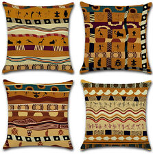 Vintage African Ethnic Style Cotton Linen Pillow Case Throw Cushion Cover 45cm