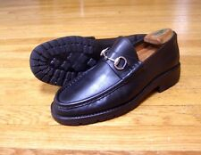 Mens Gucci Black Leather Buckle Moccasin Loafers Size 8 1/2 D (US)