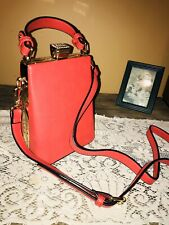 New Bling Latch Convertible Pink/Red Small Crossbody Carry Purse Faux Leather