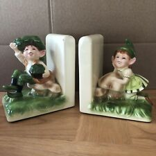 Japan Gorham Green Pixie Elves Ceramic Bookends 2 Pieces Boy And Girl Kitsch