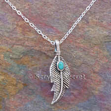 "925 Sterling Silver FEATHER charm South Western smaller Pendant 18"" Necklace"
