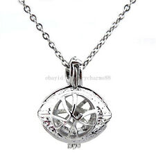 """American Football Pearl Cage - Rugby Bead Cage Locket Pendant 16"""" Necklace  K134"""